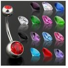 STEEL BELLY NAVEL RING DOUBLE GEMS CZ BUTTON PIERCING 14G JEWELRY 14 Colors B660