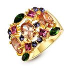 Gorgeous Multicolor Crystal Cocktail Ring 18K Yellow Gold GP Hot R339