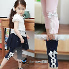 Summer Baby Kids Toddlers Girls Princess Lace Bowknot 3/4 Pants Leggings 2-7Y