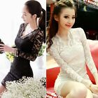 New Sexy Vintage Style Scalloped Neck Slim Cocktail Retro Lace Dress black white