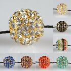 Wholesale Crystal Rhinestone 10mm Round Ball Golden Loose Spacer Beads Findings