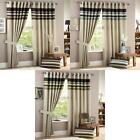 Harvard Stripe Print Eyelet Lined Curtains