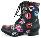 FDW Womens Iron Fist Bite Me Lips Lace Up Military Combat Black Boots Shoes
