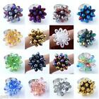 1/5pcs Colorful Faceted Teardrop Glass Beads Cocktail Finger Ring Girls Gift