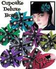 Deluxe Bow in Cupcakes by Kitty Deluxe EMO Punk Goth Burlesque Rockabilly
