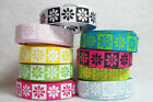 "ST5777V - 3 yds 3/8"" PINK YELLOW GREEN BLUE PINK BLACK DAISY GROSGRAIN RIBBON"