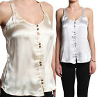 MOGAN Button Down SATIN CAMISOLE BLOUSE Sleeveless A-line Tank Top