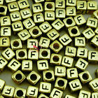 """""""F"""" Gold Cube Alphabet Letter Acrylic Plastic 6x6mm (1/4"""") Spacer Beads"""