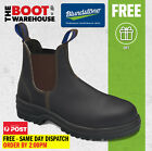 Blundstone Work Boots, 140, Brown Elastic Sided, Steel Toe Safety, Wider Fit.