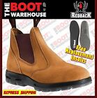 Redback Work Boots USBBA Steel Toe Cap Safety. Elastic Sided Bobcat Banana Suede