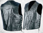 Mens Black Hog Leather Biker Vest with Laces Motorcycle Pockets MC Western Yoke