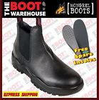 Mongrel 240011 Men's Work Boots, Steel Toe Safety. Black Rambler. Elastic Sided