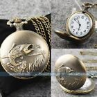 Big Steampunk Retro Antique Bronze Pocket Watch Quartz New Necklace Pendant
