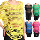 MOGAN Hippie-Chic Drapy Lacey CROCHET Boat Neck DOLMAN TOP Sheer Knit Tee Shirts
