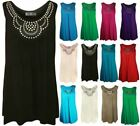 NEW LADIES PLUS SIZE BLACK STUDDED VEST STRETCHY LONG WOMENS TUNIC TOPS 14-28