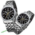 New Lovers' Lady Man Couple Stainless Steel Quartz Analog Hand Sport Wrist Watch