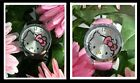 #415 Classic Hello Kitty Silver Rimmed Watch Face w/6 Crystals  Black or Pink