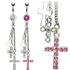 GEM PAVED CROSS DANGLE CHAIN BELLY NAVEL RING BUTTON PIERCING JEWELRY B234