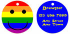 Personalized Custom Pet Dog Cat Tag ID Double sided Gay pride Rainbow smiley