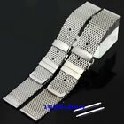 New 18 20 22 mm Stainless Steel Butterfly Clasp Watch Mesh Band Bracelet Strap