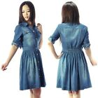 Retro Vintage Women OL Blue Denim Button 3/4Sleeve Short sleeve Casual Dress New