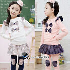 Autumn Girls Child Baby Kids Bowknot Top T-Shirt&Bow culottes Leggings Sets 2-7Y