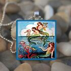 """VINTAGE MERMAIDS"" OCEAN MERMAID FRIENDS GLASS TILE PENDANT NECKLACE KEYRING"