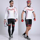 Sexy White Mens Long Cycling Suit Jersey &Pants Quick Dry Riding Jersey & Short