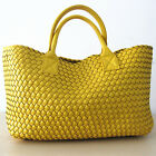 "Women""s Two-tone Woven Leather Celebrities Tote Bag w/ Bonus Coin Pouch  [JG]"
