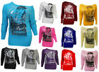 NEW LADIES FACE PRINT BATWING TOP WOMANS  LONG SLEEVE SHOULDER OFF TOP SIZE 8-16