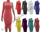 B29-ONE SHOULDER TURTLE NECK ONE LONG SLEEVE STRETCH BODYCON DRESS-SIZE 12-14-16