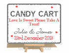 Personalised Snowflake Candy Bar Cart Wedding Metal Vintage Style Plaque Sign