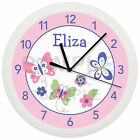 Personalized Pink and Purple Spring Butterfly Nursery Wall Clock Girls Bedroom