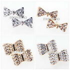 3D/2D white/gold plated bow tie ribbon Crystal gift hair studs fashion earrings