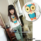 2017 Autumn Girl Baby Princess Child Kids Chest Owl Long Sleeve T-shirt 2-8Y