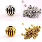Wholesale Tibetan Silver/Gold Striped Ball Seed Beads Loose Spacer Finding Craft