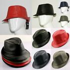 Man's Porkpie PU Leather Fedora Trilby Gangster Straw Panama Cap Jazz Hat Black