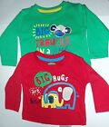 Boys 2 Pack Long Sleeved Tops in Oatmeal/Green or Red/Green with Slogan detail