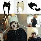 Woman Girl's Kawaii Knitted Devil Cat Ears Dangle Tassels Casual Cap Hat Black..