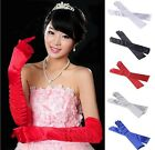 Long Finger Women's Arm Gloves Satin Party Prom Evening Wedding Bridal Stretchy