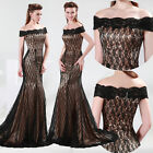 2013 Long Black Lace Evening Formal Prom Party Cocktail Dresses Wedding Gown