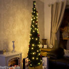 PRE-LIT WARM WHITE LED SLIM LINE POP UP CHRISTMAS XMAS TREE DECORATION 6FT 7FT
