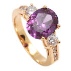 18ct Gold Filled Champagne Rose, Ruby ,Onyx,Cubic Zirconia & Amethyst  Eng Ring