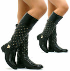 WOMENS LADIES BLACK LOW HEEL ZIP GOLD STUDDED QUILTED RIDING BIKER BOOTS F17