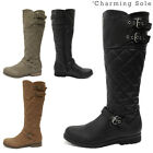 WOMENS LADIES FAUX LEATHER GIRLS FLAT HIGH CALF KNEE QUILTED WINTER RIDING BOOTS