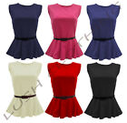 B75-BELTED BELT PEPLUM SLEEVELESS SKATER TOP T-SHIRT VEST TOPS- SIZE 8,10,12,14