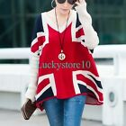 New Casual Women's UK Flag Batwing V-neck Loose Knitted Blouse Tops Sweater L XL