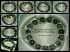 10mm SNOWFLAKE OBSIDIAN BEADS STRETCH BRACELET ~ GOLD OR SILVER ~ CHARMS ~