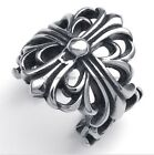 MEN'S 316L Stainless Steel Titanium Chrome Cross Heart Rock N' Roll Ring M073502