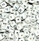 *50pcs cube white wood alphabet single letter beads approx 10mm